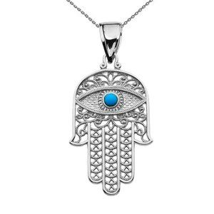 925 Silver Hamsa Hand Turquoise Evil Eye Necklace